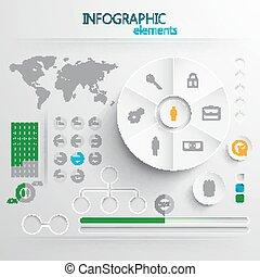 alapismeretek, vagy, háló, elvont, dolgozat, nyomtat, állhatatos, vektor, infographic, tervezés, 3