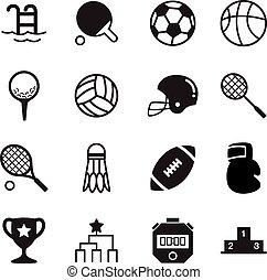 alapok, árnykép, ikonok, jelkép, sport, vektor