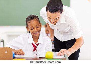 alapvető, ételadag, tanít tanár, diák