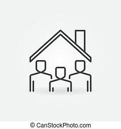 alatt, egyenes, vektor, tető, aláír, megállít, icon., otthon, emberek