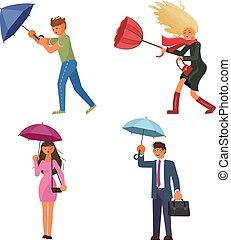 alatt, esernyő, birtok, eső, emberek