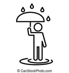 alatt, esernyő, mód, áttekintés, ember, eső, ikon