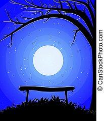 alatt, fa, hold, háttér, bírói szék