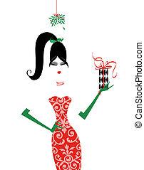 alatt, fagyöngy, karácsonyi ajándék, fashionista, sikk