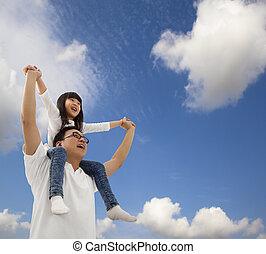 alatt, lány, cloudfield, atya, ázsiai