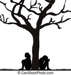 alatt, nők, bús, fa, ülés