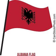 albánia, flag., nemzeti, ábra, hullámzás, háttér., lobogó, vektor, fehér