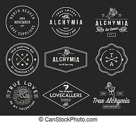 alchymia, valentines, fekete, fehér