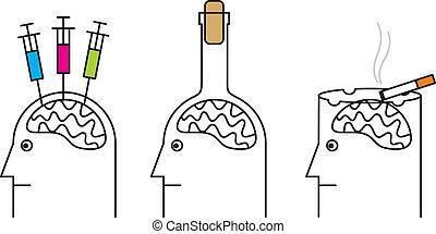 alcoholism., kábítószer, ártalmas, szokások, health., dohányzó, szenvedély