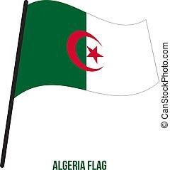 algéria, flag., nemzeti, ábra, hullámzás, háttér., lobogó, vektor, fehér