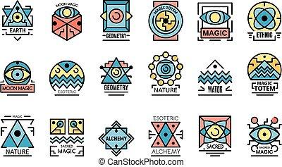 alkímia, geometriai, lakás, vektor, ikonok