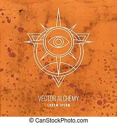 alkímia, jelkép, vektor, geometriai
