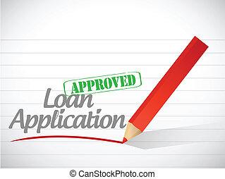alkalmazás, kölcsönad, aláír, üzenet, jóváhagyott