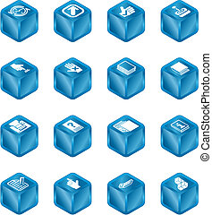 alkalmazásokat, köb, sorozat, állhatatos, ikon