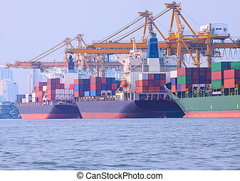 alkalmaz, berakodás, konténer, iparág, kereskedelmi, hajózás, rév, munkaszervezési, tengeri, edény, import, hajó, kép, szállít