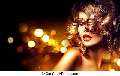 alkat, göndör, felett, ünnep, háttér, frizura, gyönyörű, sötét, nő, szépség