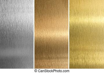 alkat, hímzett, rézfúvósok, bronz, alumínium