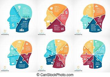 alkatrészek, rejtvény, 6, folyik, emberi, oktatás, concept., 4, ötletvihar, lépések, kivált, gondolkodó, opciók, 7, gondolat, diagram., kreativitás, 8, biciklizik, információs anyag, lenyomtat, grafikus, infographic., elme, arc, 5, vektor, 3