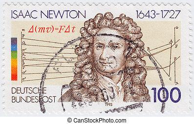 alkimista, bélyeg, nyomtatott, -, nagy, theologian, németország, filozófus, látszik, úr, fizikus, csillagász, 1993:, 1993, cirka, matematikus, isaac, természetes, newton, angol