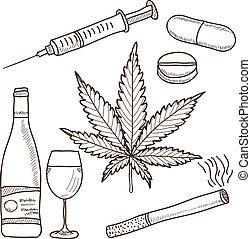 alkohol, marihuána, -, ábra, kábítószerek, más