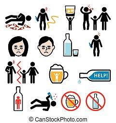 alkoholizmus, alkohol, részeg, ikonok, szenvedély, ember