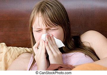 allergiák, illness., tüsszentés, influenza, ágy, tizenéves, beteg, leány