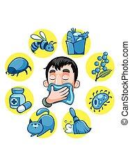 allergia, színes, karikatúra, gyűjtés