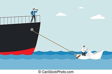 alliance., kicsi, vontatás, hatalmas, ember, vitorlázik, ship., látcső, csónakázik, dolgozat, fogalom, ügy, csapatmunka, illeszt