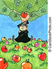 alma, ülés, newton, fa, alatt, isaac