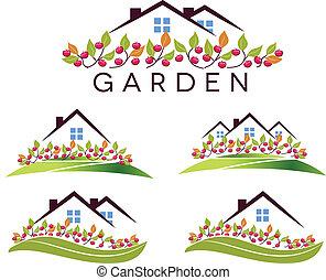 alma, kert, épület