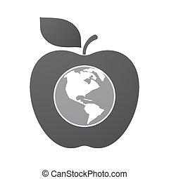 alma, vidék, elszigetelt, gyümölcs, világ, amerika, földgolyó