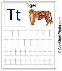 alphabet., gyerekek, tiger., tanul, angol, worksheet, irodalomtudomány