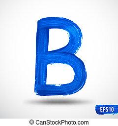 alphabet., levél, abc, b., vízfestmény, vektor, háttér