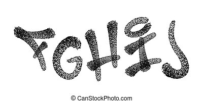 alphabet., pók, ábra, gally, vektor, falfirkálás, font., betűtípus