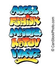 alphabet., vektor, falfirkálás, többszínű, betűtípus