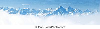 alpok, hegy, hó parkosít, panoráma
