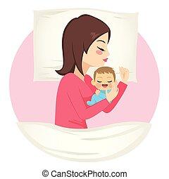 alvás, csecsemő, anya