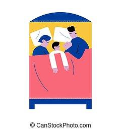 alvás, együtt, gyermek, ágy, otthon, család, nagy