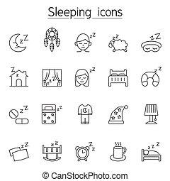 alvás, híg, ikon, állhatatos, egyenes, mód