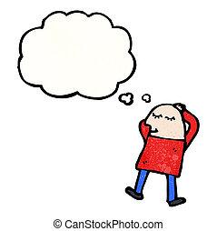 alvás, karikatúra, ember
