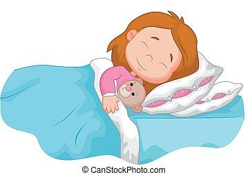 alvás, karikatúra, leány, töltött