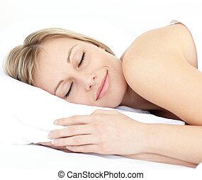alvás, nő, ágy, sugárzó, neki