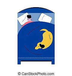 alvás, vektor, ábra, ember, ágy, fehérneműk, otthon, kutya, nagy, kék