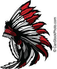 american indian, bennszülött, fej, tollazat