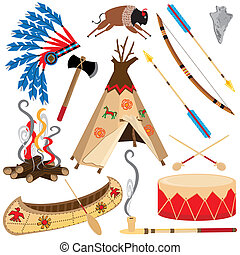 american indian, clipart, ikonok
