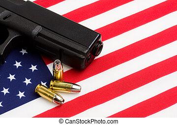 american lobogó, felett, pisztoly