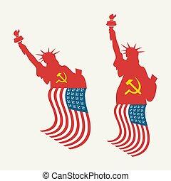 american lobogó, usa, szabadság, szobor, szocialista