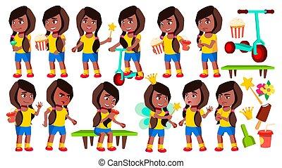 american., vector., hirdetés, preschooler., elszigetelt, állhatatos, expression., karikatúra, design., kölyök, leány, beállít, óvoda, black., afrikai származású, csecsemő, ábra, kártya, köszönés
