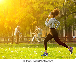 american woman, futás, afrikai, szabadban