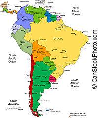 amerika, editable, déli, országok